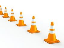 Linha de cones do tráfego Foto de Stock