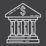 Linha de construção ícone, negócio e finança do banco ilustração do vetor