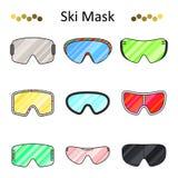 Linha de cor ícone ajustado dos óculos de proteção do esqui do vetor Fotografia de Stock