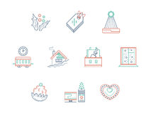 Linha de cor ícones da celebração do Natal ajustados Imagens de Stock Royalty Free