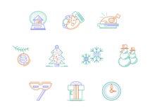 Linha de cor ícones dos acessórios do Natal ajustados Foto de Stock Royalty Free