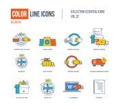 Linha de cor coleção dos ícones A entrega, expressas internacionais e jejuam, Imagens de Stock