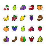 Linha de cor grupo do ícone dos frutos ilustração stock