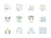 Linha de cor lisa ícones do Natal ajustados Fotografia de Stock Royalty Free