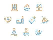 Linha de cor simples ícones dos serviços do Xmas ajustados Foto de Stock