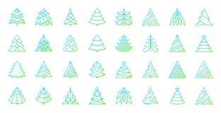 Linha de cor simples grupo da árvore de Natal do vetor dos ícones ilustração do vetor