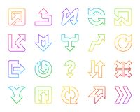 Linha de cor simples grupo da seta do vetor dos ícones ilustração stock