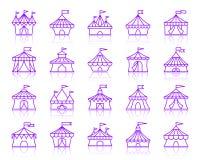Linha de cor simples grupo da tenda do circus do vetor dos ícones ilustração do vetor