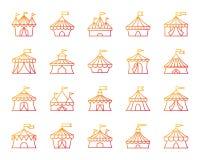 Linha de cor simples grupo da tenda do circus do vetor dos ícones ilustração royalty free