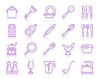 Linha de cor simples grupo do Kitchenware do vetor dos ícones ilustração stock