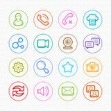 Linha de cor social ícones dos meios com fundo branco - Vector a ilustração Imagem de Stock