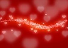Linha de corações de incandescência Fotografia de Stock Royalty Free