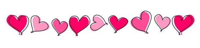 Linha de corações/divisor Foto de Stock Royalty Free