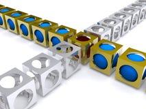 Linha de cubos que cruzam-se Fotografia de Stock Royalty Free