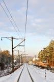 Linha de estrada de ferro do inverno Imagem de Stock Royalty Free