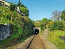 Linha de estrada de ferro e túnel, Portugal fotografia de stock