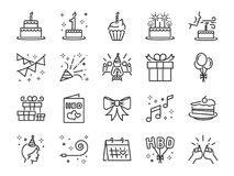 Linha de festa de anos feliz grupo do ícone Incluiu os ícones como a celebração, aniversário, partido, felicitações, bolo, presen ilustração royalty free