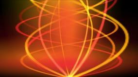 a linha de fogo fumo da espiral do ouro 4k, energia sinaliza, onda morna da vibração do ritmo do fulgor ilustração stock