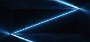 Linha de incandescência azul do tubo de néon do laser da diagonal de néon futurista elegante moderna de Sci Fi com reflexão no pr ilustração royalty free