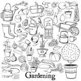 Linha de jardinagem grupo da garatuja do desenho do ícone Imagens de Stock