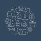 Linha de jardinagem grupo do círculo do ícone Fotos de Stock Royalty Free