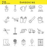 Linha de jardinagem grupo do vetor dos ícones Imagem de Stock