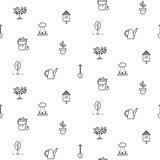 Linha de jardinagem teste padrão sem emenda do vetor dos ícones Imagens de Stock Royalty Free