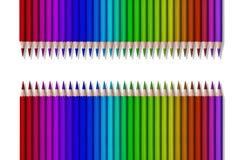 Linha de lápis coloridos no fundo preto Fotos de Stock