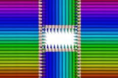 Linha de lápis coloridos no fundo preto Imagens de Stock