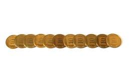 Linha de moedas israelitas da mudança Fotografia de Stock