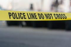 Linha de polícia amarela fita Imagens de Stock Royalty Free