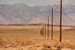 Linha de polos de telégrafo através do deserto Imagem de Stock