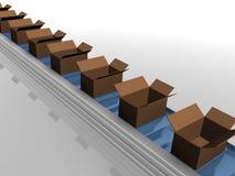 Linha de produção com caixas abertas Imagens de Stock