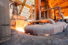 Linha de produção derretida da fornalha de fundição do ferro das fresas de aço Fotografia de Stock Royalty Free