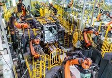 Linha de produção do carro do robô Foto de Stock