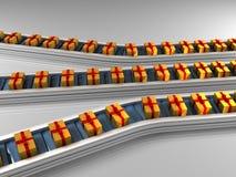 Linha de produção tripla da fileira com presentes dourados Imagens de Stock