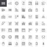 Linha de produtos ícones da compra do supermercado ajustados Foto de Stock