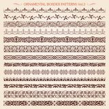 A linha de quadro vintage da beira decorativa modela o vetor 3 ilustração stock