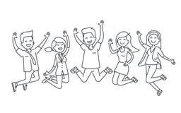 Linha de salto ilustração dos povos felizes isolada no fundo branco ilustração royalty free