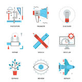 Linha de serviços de design ícones do produto ajustados Foto de Stock Royalty Free