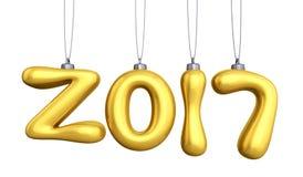 Linha 2017 de suspensão do balão do ouro Cartão tipográfico das artes do ano novo Imagem de Stock Royalty Free