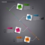 A linha de tempo gráfico da informação coloriu o molde quadrado do elemento Fotografia de Stock Royalty Free