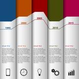 Linha de tempo molde moderno listrado branco gráfico da informação Fotografia de Stock Royalty Free