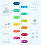 Linha de tempo vertical vetor Infographic dos janeiro até dezembro Imagem de Stock Royalty Free