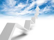 Linha de tendência quebrada com a seta na extremidade que vai acima ao céu Imagem de Stock Royalty Free