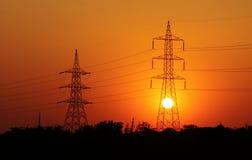 Linha de transmissão da eletricidade Foto de Stock Royalty Free
