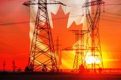 Linha de transmissão de energia de alta tensão Colunas da energia No por do sol, Imagens de Stock Royalty Free