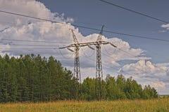 Linha de transmissão de energia através da floresta imagem de stock