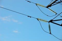 Linha de transmissão isoladores Fotos de Stock Royalty Free