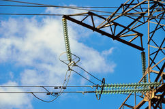 Linha de transmissão isoladores Fotos de Stock